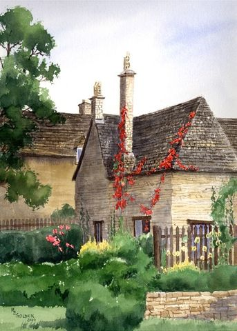 Burford,Cottage,Art,Print,Giclee,painting,watercolor,england,cottage,stone,burford,landscape,arches hotpress watercolor paper,inks