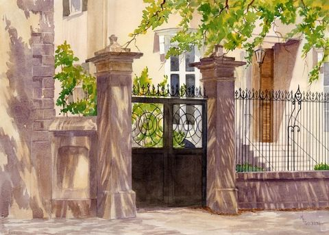 Charleston,Gate,Art,Print,Giclee,painting,landscape,watercolor,cityscape,charleston,gate,shadows,85485maryellengol,paper,ink