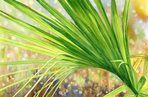 Palm,Frond,with,sunlight,shining,through,Art,Print,Giclee,Palm_frond,green,light,marsh,seashore,watercolor,bokeh,leaves,grasses,Bald_Head_Island,watercolor paper,inks