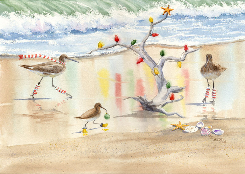 Decking the Tree sandpipers lighting driftwood Christmas tree giclee print - product images