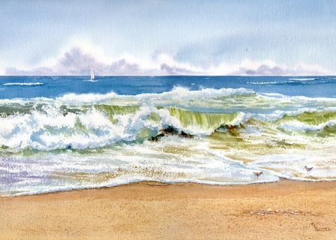 Surf,Art,Print,Giclee,wave,seashore,blue,shoreline,seascape,sandpipers,sailboat,beach_painting,ocean,watercolor paper,inks