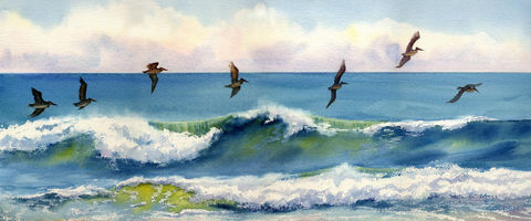 Riding,the,Crest,pelicans,just,above,an,ocean,wave,Art,Print,Giclee,waves,seashore,blue,seascape,water,birds,flight_of_pelicans,beach_painting