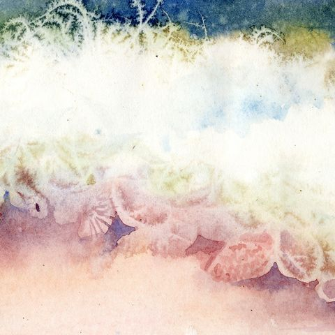 Edge,of,the,Sea,giclee,print,Art,Print,Giclee,shells,waves,seashore,painting,landscape,justbeachy_team,watercolor,beach_painting,seascape,water,paper,inks