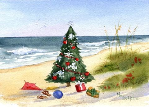 Christmas,at,the,Beach,Art,Print,Giclee,watercolor,christmas_tree,beach,seashore,seascape,wweteam,justbeachy_team,ink,paper
