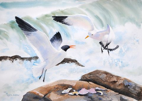 Splash,Dance,Art,Print,Giclee,seagull,gulls,ocean,beach_painting,wave,shells,rocks,spray,wings,watercolor paper,inks