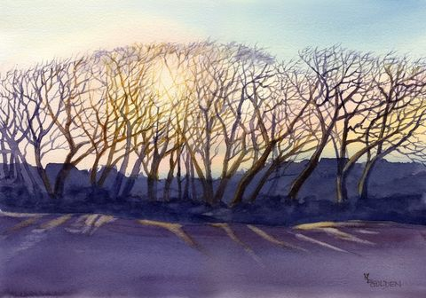 Topsail,Trees,Art,Print,Giclee,painting,landscape,watercolor,trees,sunrise,purple,oaks,paper,ink