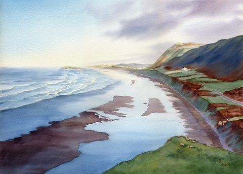 When,the,Mists,Rolled,Back,Welsh,giclee,print,Art,Print,Giclee,painting,landscape,watercolor,wales,gower_peninsula,cliffs,seashore,beach_painting,sea,paper,ink