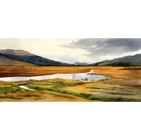 By,Yon,Bonnie,Braes,in,Scotland,Art,Print,Giclee,scotland,hills,streams,gold,clouds,reflections,watercolor paper,inks