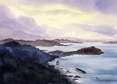 Bonnie,Boat,along,the,coast,in,Scotland,Art,Print,Giclee,painting,landscape,scotland,boats,seashore,watercolor,lavender,blue,water,rocky_coast,maryellengolden,paper,ink