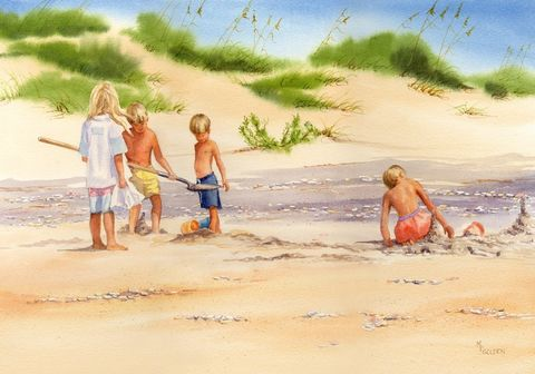 Buried,Treasure,Art,Print,Giclee,landscape,painting,watercolor,sandcastle,children,beach,treasure,reproduction,giclee,wweteam,justbeachy_team,coastal,paper,ink