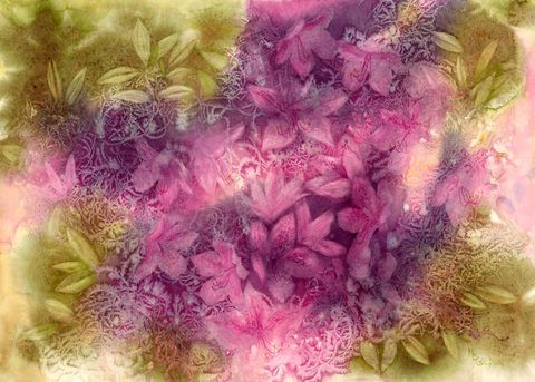 Azalea,Fantasy,Art,Print,Giclee,print,watercolor,azaleas,pink,salt,hair,paper,ink,flowers