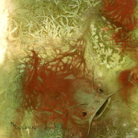 Net,Series,,Catfish,Art,Print,Giclee,net,underwater_abstract,green,watercolor,giclee,red,painting,Mary_Ellen_Golden,beach_painting,inks,watercolor paper