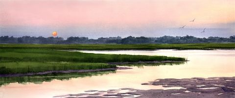 Sunset,Marsh,Art,Print,Giclee,coastal beach decor, watercolor,marshes,sunset,pink,reproduction,giclee,seashore,justbeachy_team,marsh_painting,beach_painting,green,yellow,paper,ink