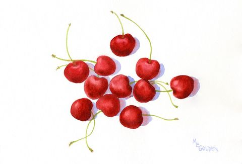 Cherries,Art,Print,Giclee,painting,watercolor,red,cherries,kitchen,fruit,still_life,watercolor paper,inks