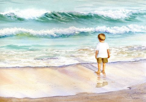 Wave,Wishing,Art,Print,Giclee,coastal beach decor,painting,watercolor,seascape,children,waves,justbeachy_team,wweteam,sand,inks,watercolor paper