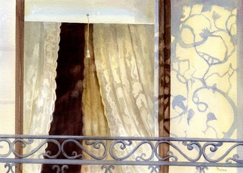 Shadows,of,the,Past,Art,Print,Giclee,Zebulon Laitimer House,window,reflections,lace_curtains,historic_home,shadows,brown,wrought_iron,inks,watercolor paper