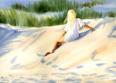 Summer,Daydreamer,Art,Print,Giclee,coastal beach decor, painting,watercolor,sand_dune,seashore,girl,blonde,sunshine,summer,justbeachy_team,596dc64b24,seascape,watercolor paper,inks