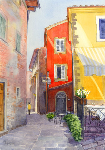 Montecatini,giclee,print,Art,Print,Giclee,Tuscany,Italy,Street_scene,sidewalk_cafe,old__city,orange,yellow,cobblestones,online_art_gallery,Golden,ink,watercolor paper