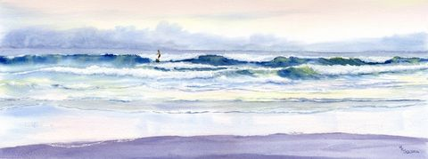 Riding,Out,the,Storm,giclee,print,,waves,and,surfer,Art,Print,Giclee,coastal beach decor, open_edition,sunset,blue,pink,beach_painting,seascape,seashore,ocean,ocean_waves,beach_surf_waves,sunset_seascape,watercolor_painting,inks,watercolor paper
