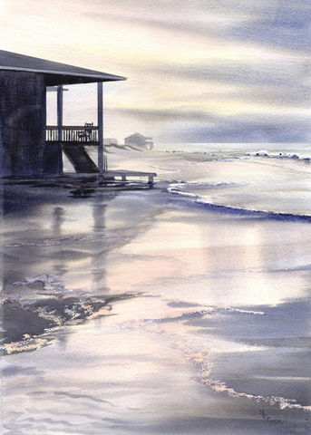 After,the,Storm,Giclee,print,Art,Print,storm,ocean,reflections,wet_sand,seascape,beach_painting,waves,beach_house,seashore,gray,online_art_gallery,early_morning,watercolor paper,inks