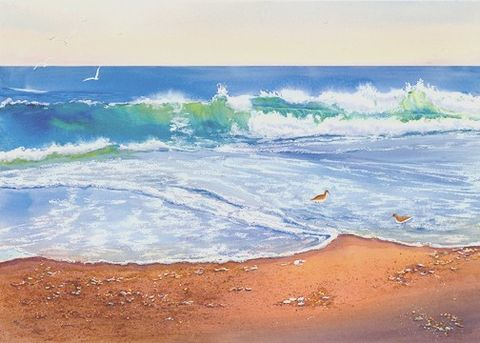 Water's,Edge,by,the,ocean,with,sandpipers,Art,Print,Giclee,coastal beach decor, painting,watercolor,seashore,waves,birds,beach,justbeachy_team,watercolor paper,inks