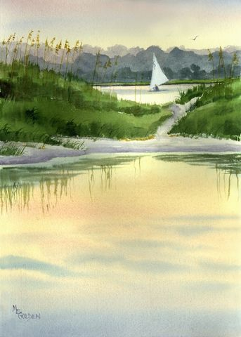 Masonboro,Marsh,Art,Print,Giclee,coastal beach decor,painting,watercolor,landscape,marsh,sailboat,seascape,water,green,justbeachy_team,coastal,85485maryellengol,inks,arches hotpress watercolor paper