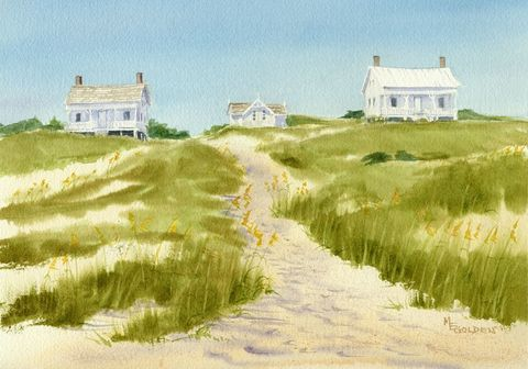 Captain,Charlies,beach,cottage,print,from,watercolor,painting,Art,Print,coastal beach decor, Giclee,landscape,seashore,lighthouse_keeper,bald_head_island,beach_painting,seascape,path,green,sea_oats,paper,ink