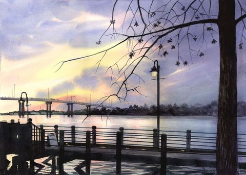 Riverglow,Sunset,on,the,Cape,Fear,Bridge,and,Riverwalk,Art,Print,Giclee,sunset,river,reflections,water,bridge,riverwalk,yellow,blues,silhouettes,trees,river_painting,inks,watercolor paper