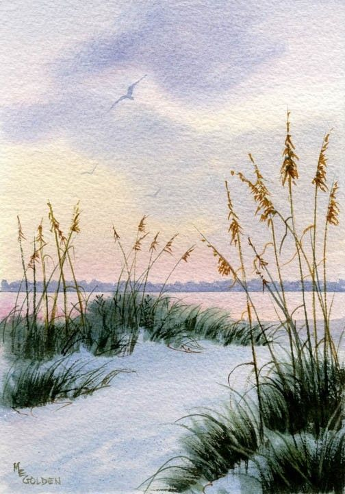Dusk in the Sand Dunes and Sea oats giclee print - product images
