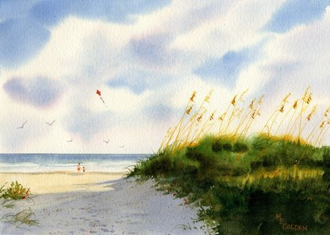 Playdate,with,kites,at,the,beach,Art,Print,Giclee,coastal beach decor,watercolor,print,painting,landscape,seashore,kite,ocean,seascape,beach_painting,online_art_gallery,watercolor paper,inks