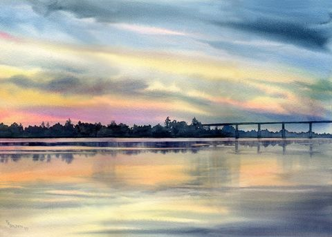River,Twilight,on,the,Cape,Fear,Art,Print,Giclee,painting,landscape,river,twilight,color,bridge,watercolor paper,ink