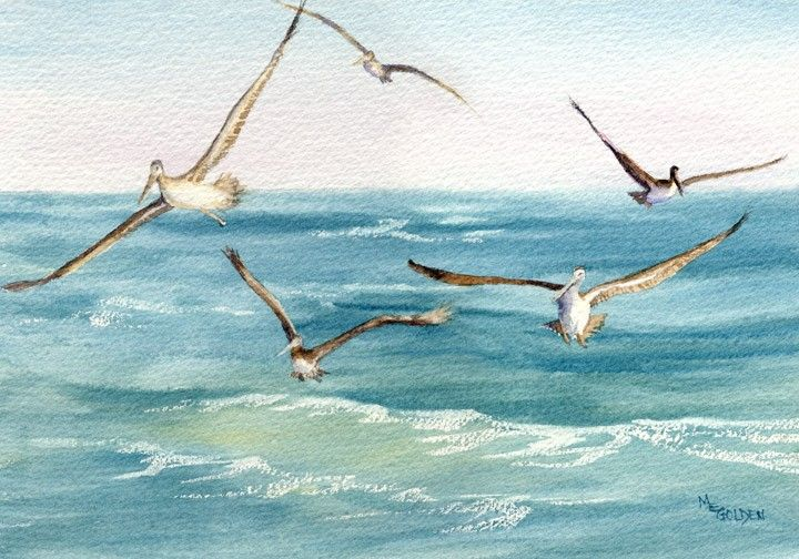 Following the Ferry five pelicans giclee print - product images