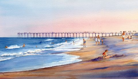 Return,to,Wrightsville,Art,Print,Giclee,watercolor,print,painting,landscape,limited_edition,people,beach,sunset,pier,giclee,Wrightsville Beach,paper,ink