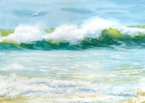 Beach,Visitor,seascape,giclee,print,Art,Print,Giclee,painting,watercolor,seashore,beach,waves,gulls,justbeachy_team,watercolor paper,inks