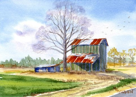 Remember,When,tobacco,barn,Art,Print,Giclee,painting,watercolor,landscape,tobacco_barn art,farm,rusty_roof,arches hotpress watercolor paper,inks