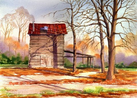 Log,Barn,southern,tobacco,barn,Art,Print,Giclee,painting,landscape,watercolor,tobacco barn,log,nostalgia,justbeachy_team,paper,ink