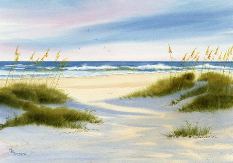 Afternoon,Shadows,fall,across,Wrightsville,Beach,Dunes,Art,Print,Giclee,landscape,painting,watercolor,sand_dunes,sea_oats,seashore,giclee,shadows,seascape,beach_painting,sand,ocean,paper,ink