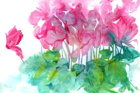 Dance,of,the,Cyclamen,Art,Print,Giclee,mixed_media,acrylic,watercolor,flowers,cyclamen,pink,green,ink,paper