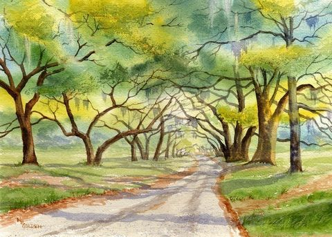 Orton,Road,Art,Print,Giclee,painting,landscape,trees,moss,plantation,watercolor,road,wweteam,paper,ink