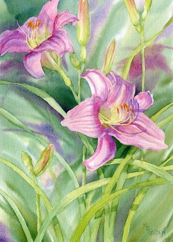 Pink,Lilies,Art,Print,Giclee,painting,watercolor,pink,daylilies,flowers,ink,watercolor paper