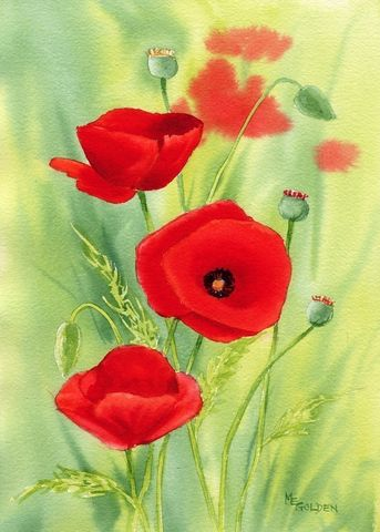Poppies,1,Art,Print,Giclee,painting,landscape,flowers,poppies,watercolor,ink,paper