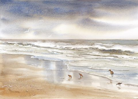 Storm,Watchers,sandpipers,by,a,stormy,sea,Art,Print,Giclee,storm,clouds,birds,ocean,painting,landscape,watercolor,giclee,seascape,seashore,cloudy,paper,inks
