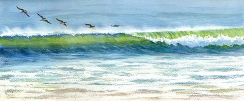 Rolling,Along,pelicans,just,above,the,crest,of,a,wave,Art,Print,Giclee,open_edition,blue,ocean,seascape,watercolor,seashore,beach_painting,beach,inks,watercolor paper