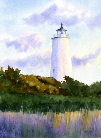 Ocracoke,Lighthouse,Art,Print,Giclee,lighthouse,ocracoke,marsh,watercolor,lavender,grasses,seashore,ink,watercolor paper