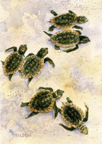 Two,by,Baby,Sea,Turtles,scramble,to,the,ocean,Art,Print,Giclee,seascape,sea_turtle,sand,green,Ocean,beach_painting,seashore,baby_turtles,hatchlings,inks,watercolor paper