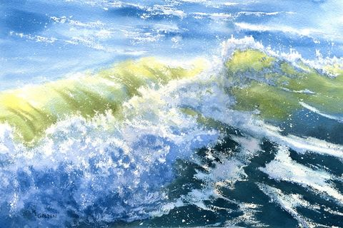Crashing,Wave,breaking,on,the,seashore,Art,Print,Giclee,waves,blue,green,spray,foam,breakers,rolling,boardwalkartisans,beach_painting,online_painting,seascape,breaking_wave,arches hotpress watercolor paper,inks