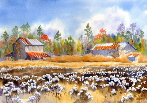 Barns,Back,Home,giclee,Art,Print,Giclee,painting,watercolor,cotton,fields,barn,back_home,landscape,memories,justbeachy_team,Mary_Ellen_Golden,watercolor paper,inks