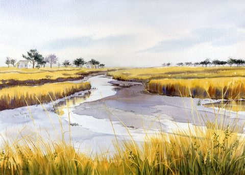 Path,to,Portsmouth,island,on,NC,coast,Art,Print,Giclee,watercolor,giclee_print,print,portsmouth_island,marsh,landscape,beach_painting,tidal_creek,seascape,marsh_painting,maryellengolden,paper,ink