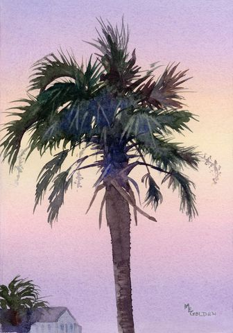 Sunrise,Palm,tree,silhouetted,against,the,sky,Art,Print,Giclee,painting,landscape,palmtree,sunrise,watercolor,silhouette,pink,purple,green,Mary_Ellen_Golden,giclee,paper,ink
