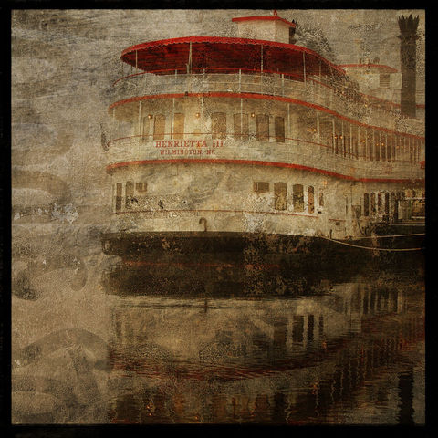 Foggy,River,Queen,-,8,in,x,Altered,Photograph,Art,Photography,Surreal,digital,brown,texture,moody,green,river,fog,steamboat,paper,ink